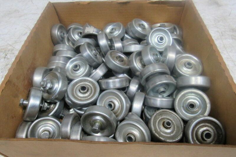"""1.9"""" Steel Conveyor Skate Wheel 1/4"""" Shaft & Bearing Lot of 100"""