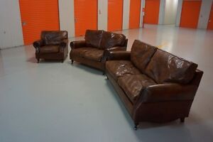 ELROY CLASSIC ANTIQUE LEATHER SOFA SUITE Woolwich Hunters Hill Area Preview