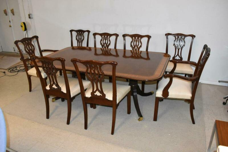 Stately Homes Mahogany Dining Room Table By Baker Furniture Banded Top