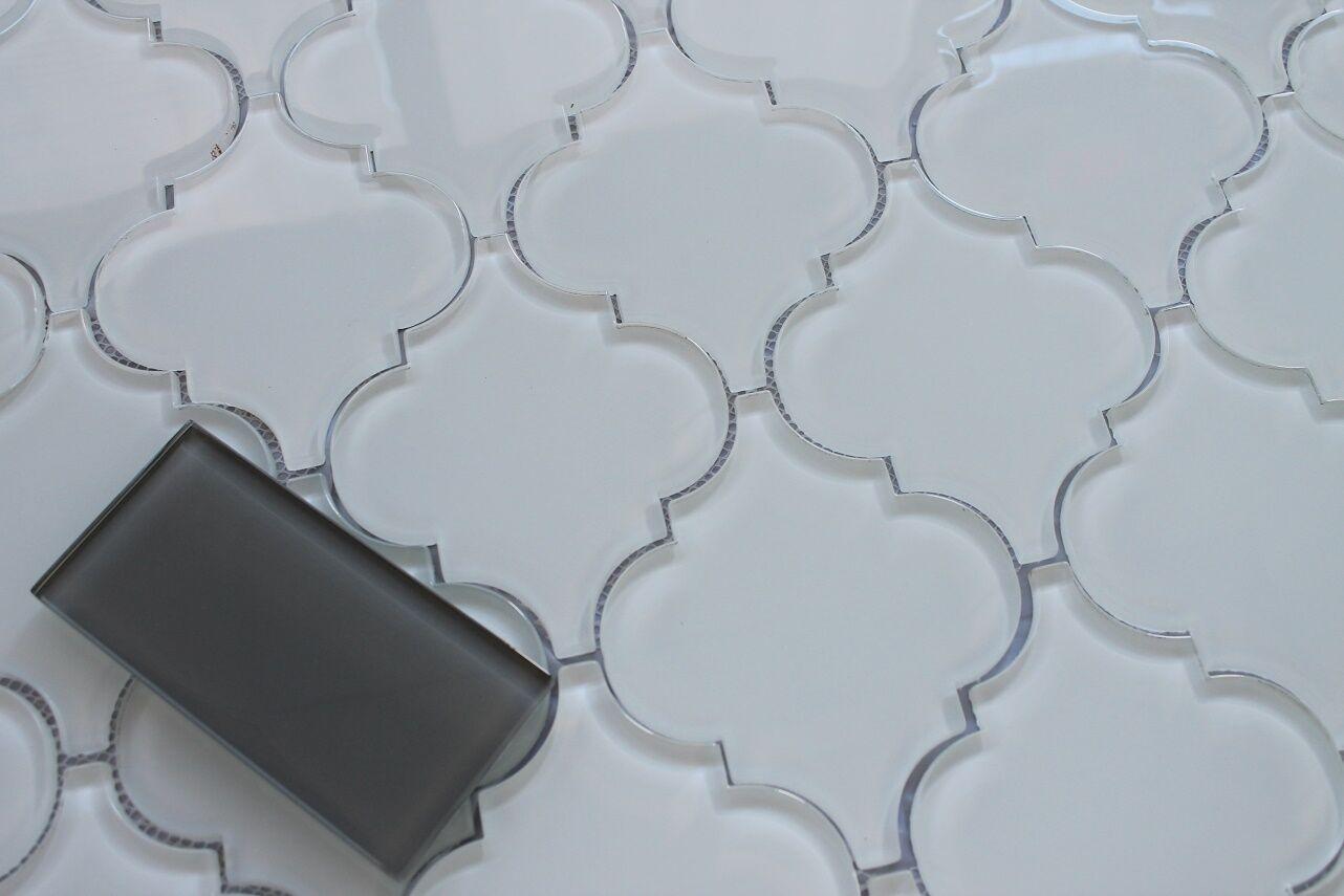 SNOW WHITE ARABESQUE Glass Mosaic Tiles - Kitchen Backsplash ...