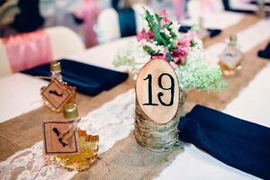 Burlap and lace table runners decoration