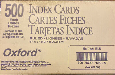 500 Oxford Ruled Index Cards 5 X 8