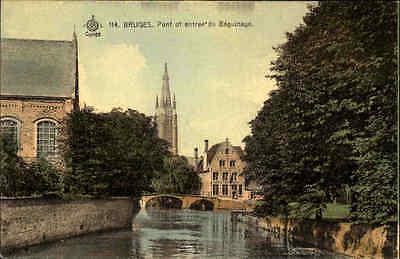 Bruges Brügge Carte Postale Postkarte ~1910 Pont Fluss Béguinage Brücke Bridge