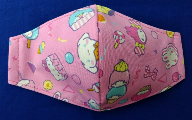 Hello Kitty  Friends Face Mask Adult Size 3-Layers Filter Pocket Option. Sweets