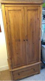 2 Door Stained Pine Wardrobe
