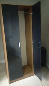 Under 6FT , 2 door Wardrobes PRE-BUILT (Easy build) Black Gloss fronted + wood as per pictures...