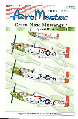 AeroMaster Decals Green Nose Mustangs East Wretham 1 Hasegawa 1/32 Kit AN32016