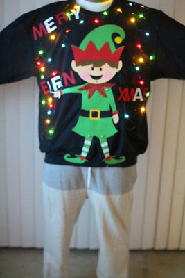 NeW Ugly Christmas Sweater Men Funny Merry Elfin Xmas Sweatshirts with - Funny Ugly Christmas Sweaters For Men