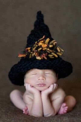 Witch Newborn Baby s Crochet Knit Costume Christmas Gift Kids Children Fun - Newborn Witch Costume