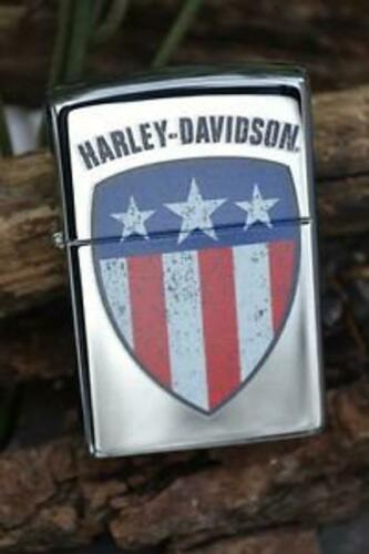 Retired Classy Harley Davidson Flag Shield Zippo Lighter
