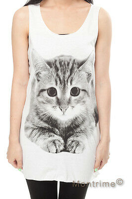 Cat Persian Cute Pet Kitty Animal WOMEN Tank TOP T-SHIRT Vest DRESS Size S M