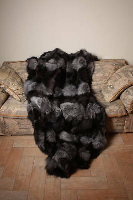 Silver Fox fur blanket throw bed sofa comfort homedecor best gift woman