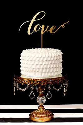 LOVE CAKE TOPPER DECORATION GOLD / SILVER wedding engagement anniversary Party ()