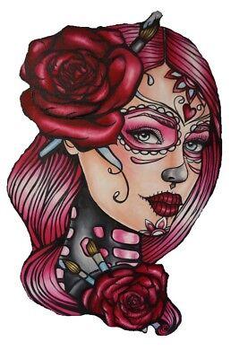 eltransfer Sugar Skull Girl Rose alle Stoffe DIN A5 A4 (Sugar Skull Girl)