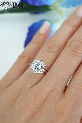 Pure Sterling Silver $120 3 ct Carat Round cz Engagement Wedding ring Size 8