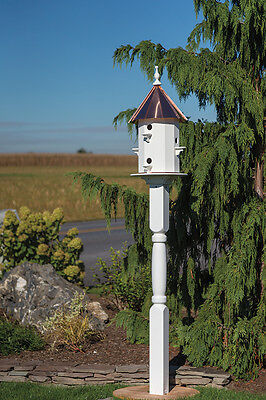 6 Hole Vinyl Bird House with copper top Amish Made in USA X-Large 30 inches TALL