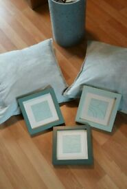 Collection of mint green shade items : lampshade, 3 x photo frames and 2 faux suede cushions