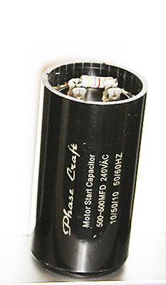 Phase-Craft  HIGH POWER MOTOR START CAPACITOR 500-600 mfd 240 V + bleed resistor
