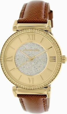 Michael Kors  MK2375 Catlin Crystal Pave Dial Gold Tone Leather Strap Watch