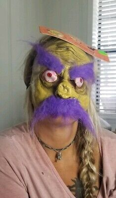 Halloween Monster Face Mask (FACE MASK HALLOWEEN Clown Man Purple Hair MONSTER COSTUME SCARY Funny)
