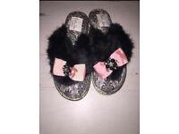NEW Black Fluffy Flip Flop Slippers