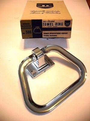 Vtg NOS Heavy CHROME Towel Ring Holder Stirrup hanger style Bathroom Donner (Chrome Antique Towel Ring)
