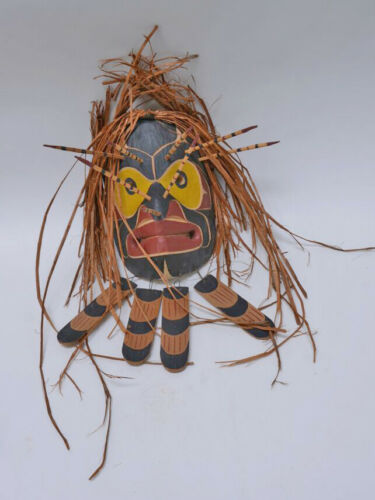"Bee Mask signed Andy Bruce Kwakiutl, Alert Bay with Cedar Hair ""Bee"" 10 x 8"""