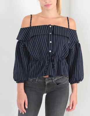 JOVONNA LONDON navy and white pin stripe off shoulder top size 12 BNWT