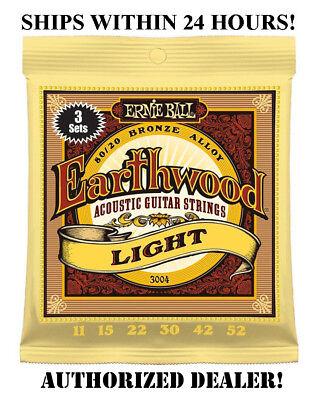 3 SETS ERNIE BALL 2004 EARTHWOOD LIGHT ACOUSTIC GUITAR STRINGS 11-52 3004(3PACK)