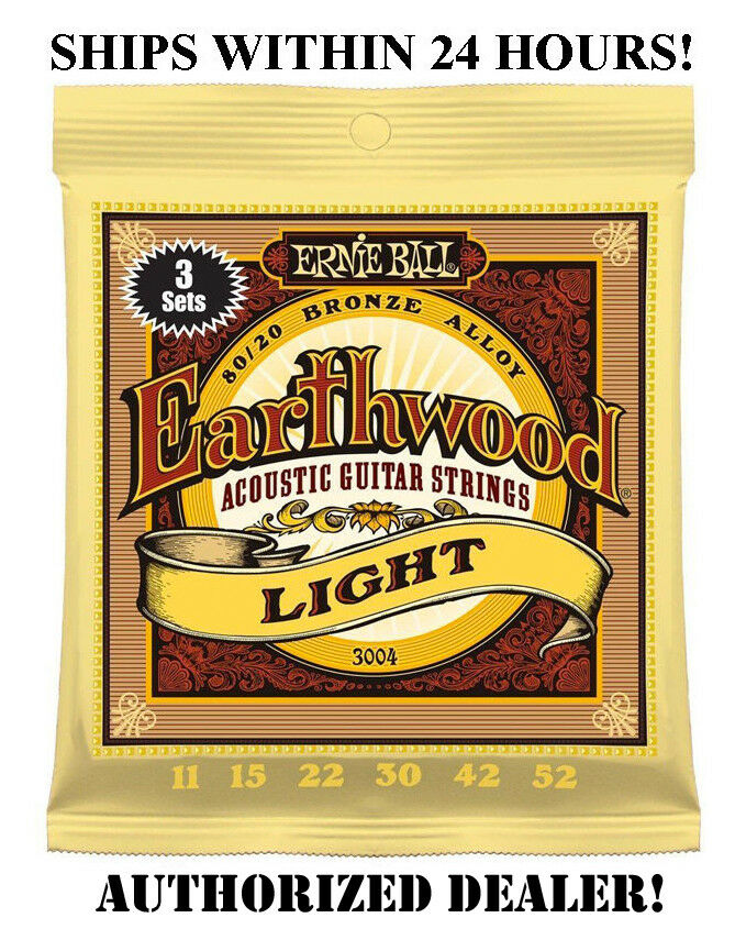 3 SETS ERNIE BALL 2004 EARTHWOOD LIGHT ACOUSTIC GUITAR STRINGS 11-52 3004(3PACK)