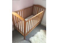Mothercare wooden dropside cot