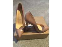 Christian Louboutin Pigalle 120, patent nude pointed heels. Size 5.