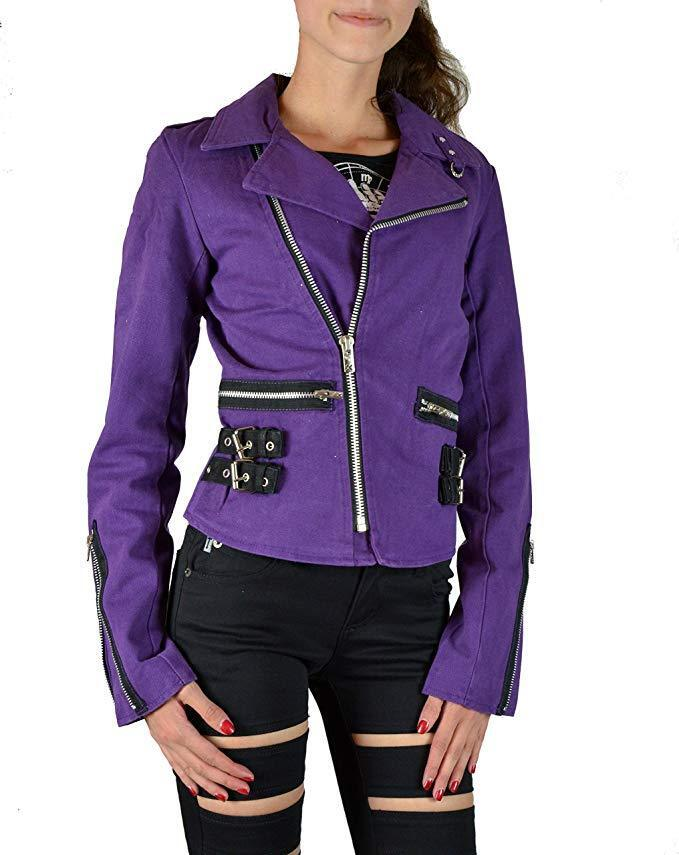 Tripp NYC D-Ring Moto Purple Punk Rockabilly Gothic Biker Rocker Jacket BD324P Clothing, Shoes & Accessories