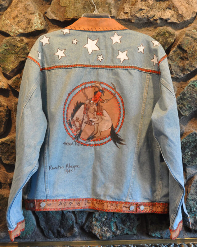 Custom Painted Denim Jacket Western Cowboy & Bucking Horse Susan Kliewer  Lg
