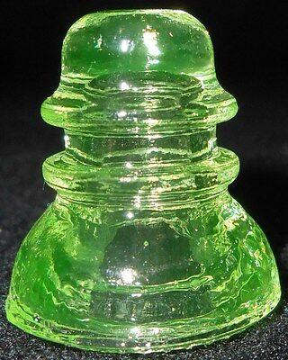 Green Vaseline glass insulator uranium Canary yellow neon lime Fluorescing mini