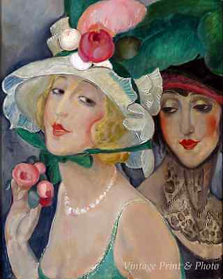 Two Cocottes with Hats by Gerda Wegener Art Danish Lili Elbe 8x10 Print (Two Cocottes)