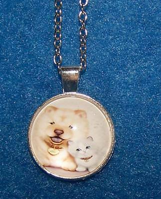 DOG CAT PUPPY KITTY pendant SILVER necklace men female FREE KEYCHAIN GIFT BOX