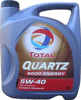 5 Liter TOTAL Quartz 9000 ENERGY 5W-40 Motoröl 5W40 VW MERCEDES  A3/B4 NEU ÖL