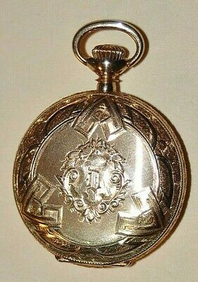 Antique 14 K Solid Gold 1910 Elgin Beautiful Hunter Case Pocket Watch  - $430.00