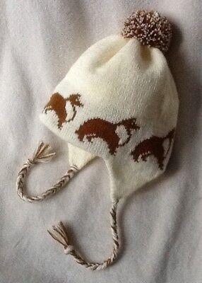 SHELTIE/ SHETLAND SHEEPDOG dog  knitted  Lined CREAM ADULT TRAPPER EAR FLAP HAT