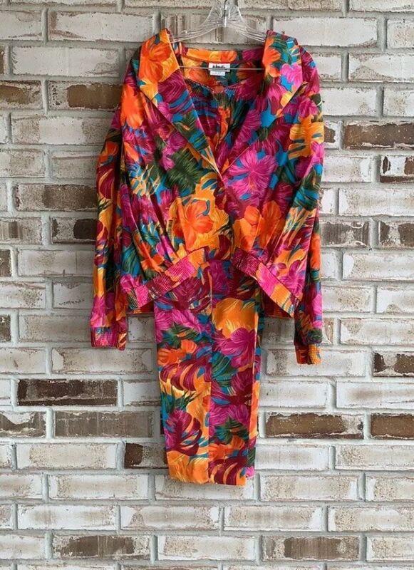 Vintage 80's Jo Hardin Womens Tropical Print 3 Piece Set Sz 12