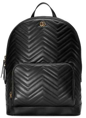 f877d316dc3e6b NEW GUCCI GG MARMONT BLACK LEATHER CHEVRON DOUBLE G MATELASSE LARGE BACKPACK  BAG