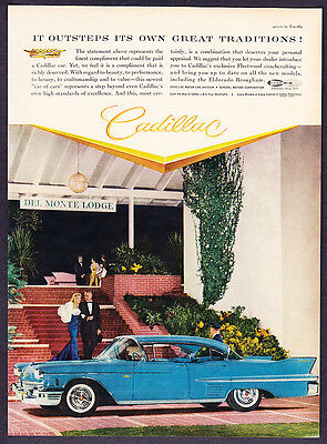 "1958 Cadillac Sedan at Del Monte Lodge photo ""Outsteps Its Tradition"" promo ad"