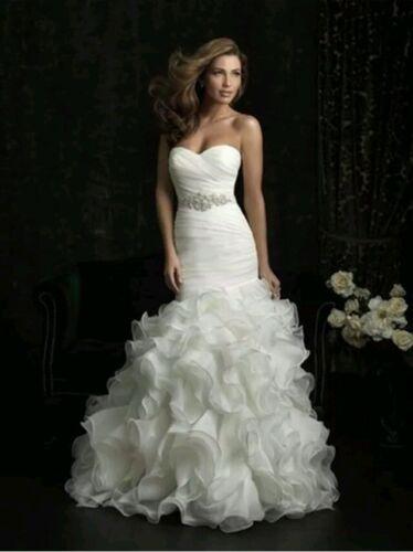 New Organza white Mermaid wedding dress Bridal Gown Size 6-18 UK