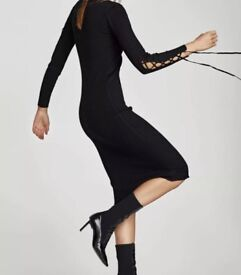 Zara black knit ribbed long dress M 8-12 New TopShop H&M LV MK KV