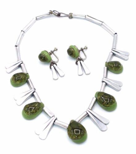 RARE Vtg Modernist ELSA FREUND Aluminum GREEN ELSARAMICS Necklace Earring Set