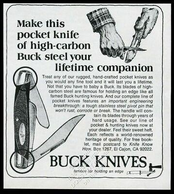 1975 whittling art Buck pocket knife folding knives vintage print ad