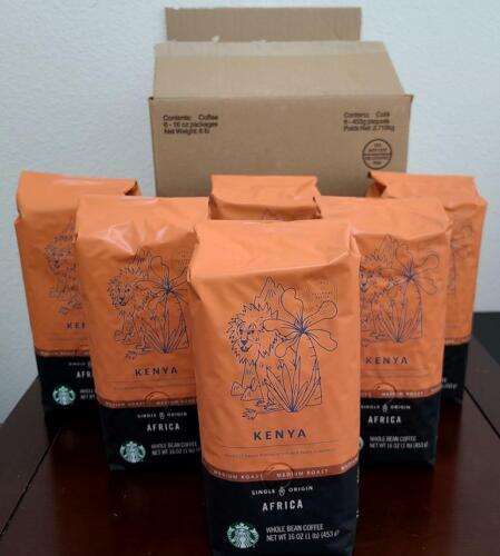 Lot of 6 Starbucks KENYA Medium Roast WHOLE BEAN 100% ARABICA Coffee 16oz 6/2020