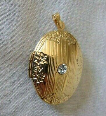 Diamond Oval Locket (Lovely ornate oval locket pendant necklace with faux diamond jewelry )