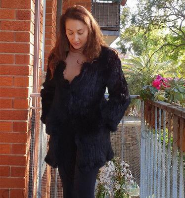 Frauen Farm lange Real gestrickt Kaninchen Pelz Fell Tasche Jacke schwarz